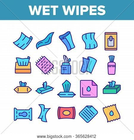 Wet Wipes Disinfectant Collection Icons Set Vector. Antibacterial Disinfect Packaging Wet Wipes And