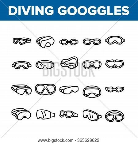 Diving Goggles Tool Collection Icons Set Vector. Diving Goggles Safety Glasses Accessory For Swimmin