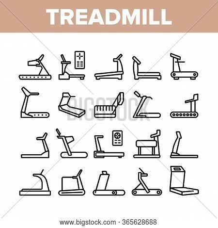 Treadmill Sportive Equipment Icons Set Vector. Collection Treadmill Sport Device For Running, Activi