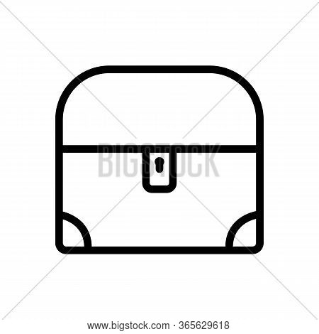 Closed Chest With Rounded Lid Icon Vector. Closed Chest With Rounded Lid Sign. Isolated Contour Symb