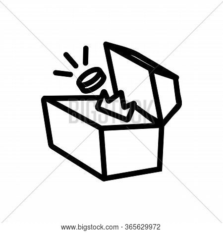 Put Jewelry In Chest Icon Vector. Put Jewelry In Chest Sign. Isolated Contour Symbol Illustration