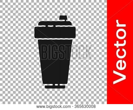 Black Fitness Shaker Icon Isolated On Transparent Background. Sports Shaker Bottle With Lid For Wate