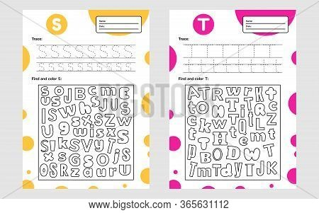 Set Race Letter Worksheet A4 For Kids Preschool And School Age. Game For Children. Find And Color.