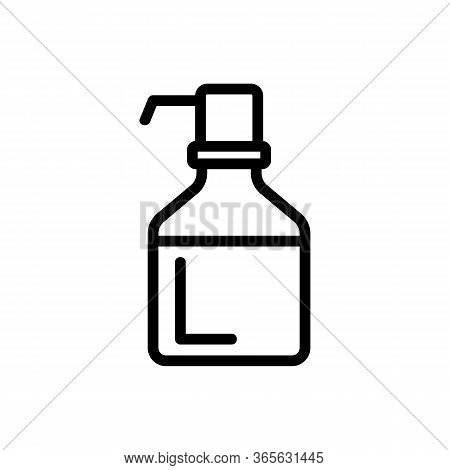 Bottle With Pressure Pump Icon Vector. Bottle With Pressure Pump Sign. Isolated Contour Symbol Illus