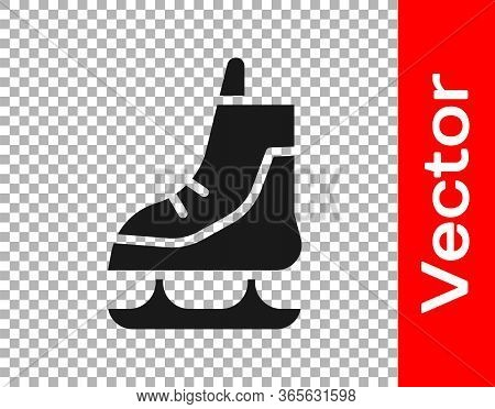 Black Skates Icon Isolated On Transparent Background. Ice Skate Shoes Icon. Sport Boots With Blades.