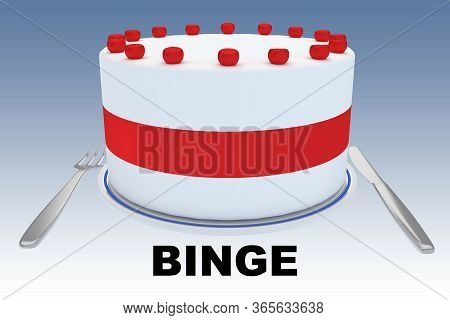 3d Illustration Of A Big Cake On A Plate, Along With Silver Knif And Fork, And A Binge Title Below,