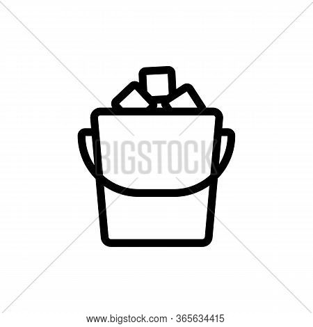 Filled Ice Bucket Icon Vector. Filled Ice Bucket Sign. Isolated Contour Symbol Illustration