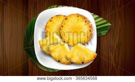 Composition Of Pineapple On A White Plate And Leaf.