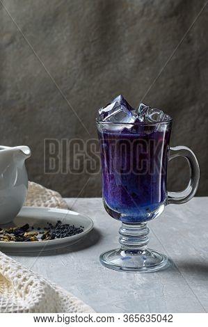 Latte Matcha Blue Pea Tea. Cold Fresh Milk With Blue Butterfly Pea Flowers Or Clitoria Ternatea Latt