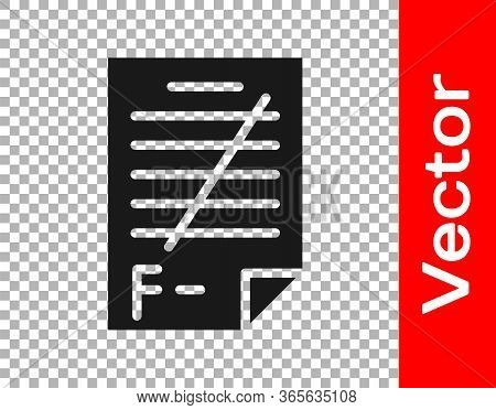 Black Exam Paper With Incorrect Answers Survey Icon Isolated On Transparent Background. Bad Mark Of