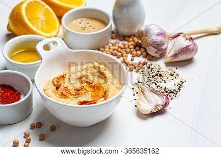 Hummus Bowl And Ingredients For Making Hummus.