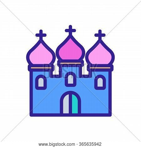 Christian Temple With Domes Icon Vector. Christian Temple With Domes Sign. Color Symbol Illustration