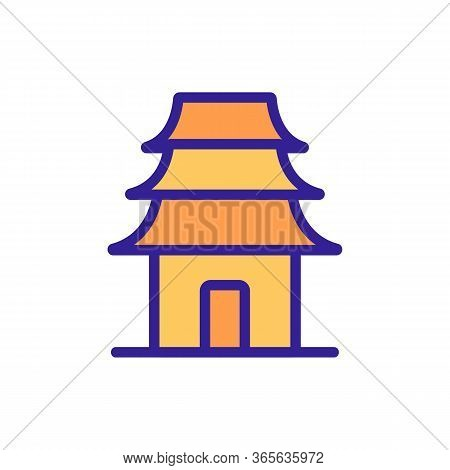 Oriental Holy Temple Icon Vector. Oriental Holy Temple Sign. Color Symbol Illustration