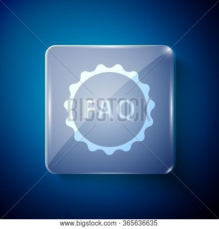 White Label With Text Faq Information Icon Isolated On Blue Background. Circle Button With Text Faq.