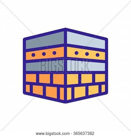 View Of Kaaba Without Fabric Coating Icon Vector. View Of Kaaba Without Fabric Coating Sign. Color S