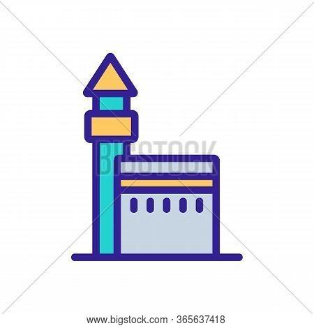 Haji Concrete Fence With Tower Icon Vector. Haji Concrete Fence With Tower Sign. Color Symbol Illust