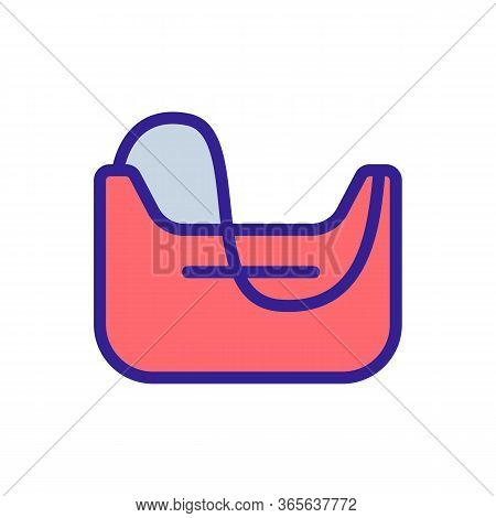 Sports Bag With Sagging Handle Icon Vector. Sports Bag With Sagging Handle Sign. Color Symbol Illust