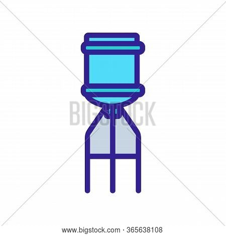 Water Bottle On Top Of Cooler Icon Vector. Water Bottle On Top Of Cooler Sign. Color Symbol Illustra