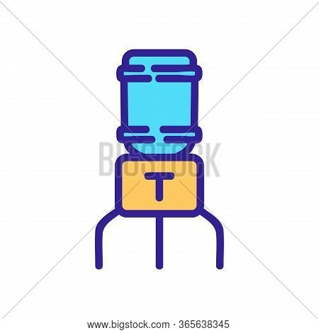 Water Cooler With Eggplant Icon Vector. Water Cooler With Eggplant Sign. Color Symbol Illustration