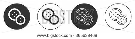 Black Sewing Button For Clothes Icon Isolated On White Background. Clothing Button. Circle Button. V
