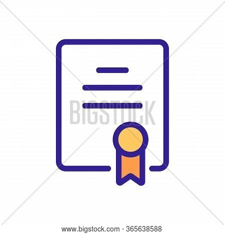 Championship Certificate With Seal Icon Vector. Championship Certificate With Seal Sign. Color Symbo