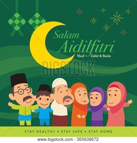 Selamat Hari Raya Aidilfitri. Cartoon Cute Muslim Family Holiday Celebration After Ramadan. Translat