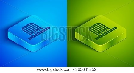 Isometric Line Patriotic American Top Hat Icon Isolated On Blue And Green Background. Uncle Sam Hat.