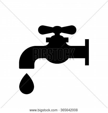 Water Tap Icon. Faucet With Water Drop. Vector Illustration Tap Water Stopcock.