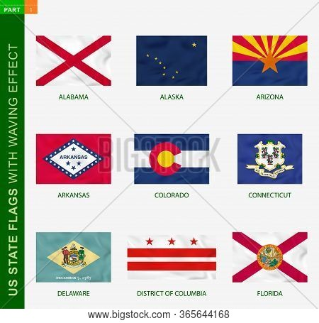 Set Of Us State Flags With Waving Effect, National Flag With Texture. Us States Vector Flag Of Alaba