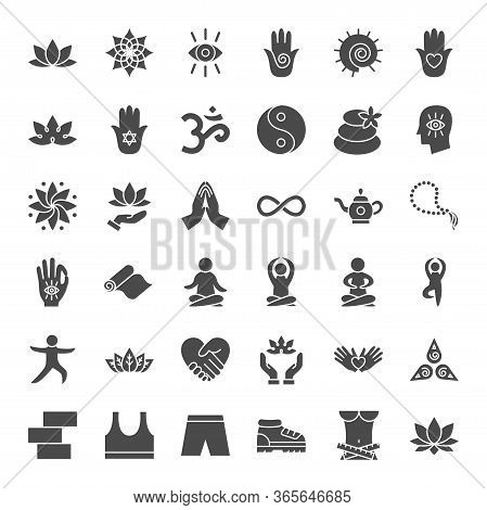 Yoga Solid Web Icons. Vector Set Of Meditation Glyphs.