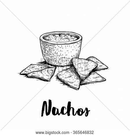 Hand Drawn Sketch Style Nachos With Guacamole Sauce. Traditional Mexican Food. Corn Chips. Retro Sty