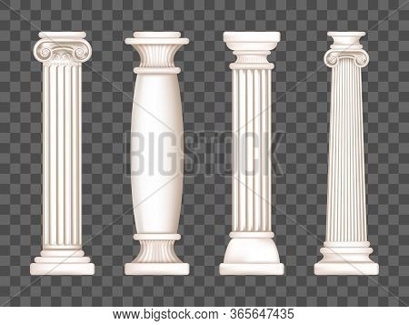 Ancient Roman Columns, Marble Architecture Decor. Vector Realistic Antique Greek White Pillars With