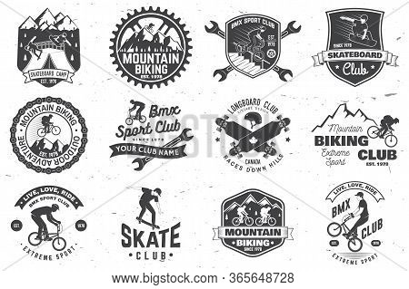Set Of Bmx, Skateboard And Mtb Extreme Sport Club Badge. Vector Illustration. Concept For Shirt, Log