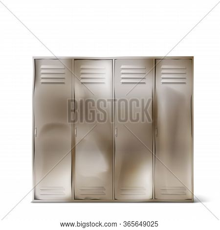 Old Steel Lockers With Dents In School Corridor Or Changing Room In Gym. Vector Realistic Rumpled Me