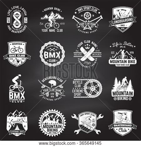 Set Of Bmx, Skateboard, Mtb Extreme Sport Club Badge On Chalkboard. Vector . Concept For Shirt, Logo
