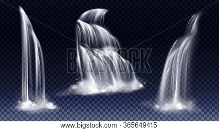 Waterfalls Isolated On Transparent Background. Vector Realistic River Water Fall With Cascade, Splas