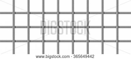 Steel Grid From Reinforced Rebars, Welded Metal Wire Mesh. Vector Realistic Lattice Of Iron Rods For