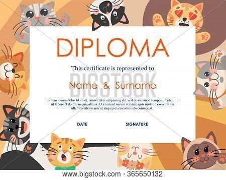 Diploma Vector Template With Kids Education Certificate Of Preschool, Kindergarten Or Elementary Sch