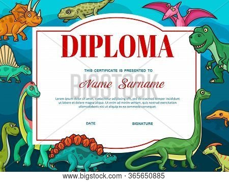 Certificate Vector Template Of Kids Education Diploma In Frame Of Dinosaur Animals. Elementary Schoo