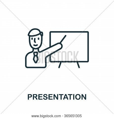 Presentation Icon From Business Training Collection. Simple Line Presentation Icon For Templates, We