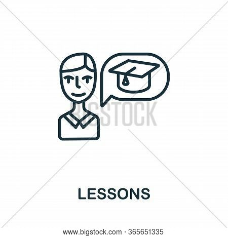 Lessons Icon From Business Training Collection. Simple Line Lessons Icon For Templates, Web Design A
