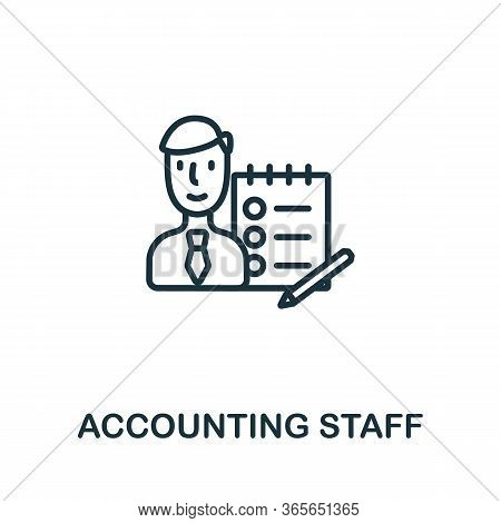 Accounting Staff Icon From Business Training Collection. Simple Line Accounting Staff Icon For Templ