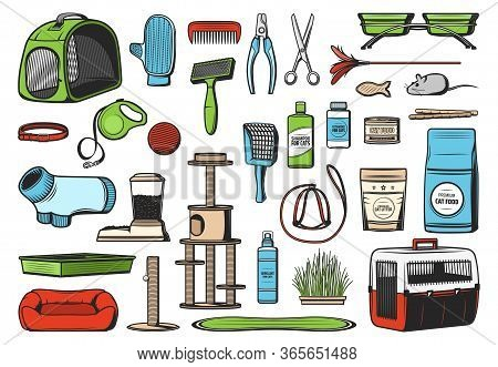 Pet Care Supplies For Cats, Vector Icons. Food, Grooming Brush And Glove Accessories, Toys, Stand Ho
