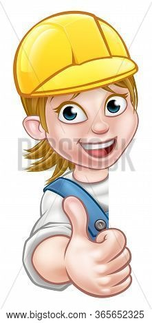 Cartoon Female Builder, Mechanic, Carpenter, Electrician Or Plumber Character In Hard Hat Giving Thu