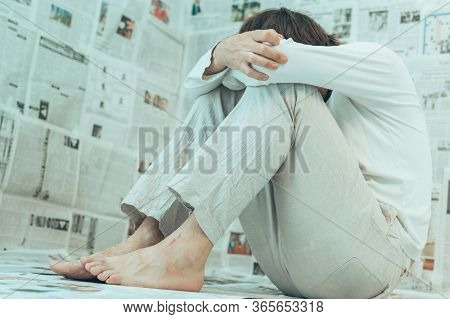 Misinformation Infodemic Delusion Concept, Man With Mental Health Problems Due To Excessive Amount O