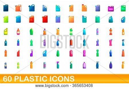 60 Plastic Icons Set. Cartoon Illustration Of 60 Plastic Icons Vector Set Isolated On White Backgrou