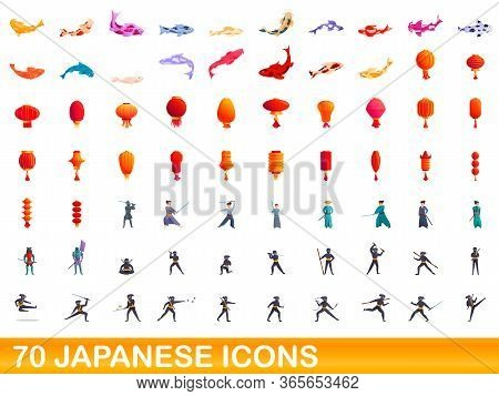 70 Japanese Icons Set. Cartoon Illustration Of 70 Japanese Icons Vector Set Isolated On White Backgr