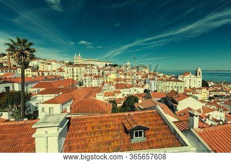 Historic old district Alfama in Lisbon, Portugal.