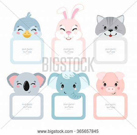 Decorative Head Animal Vector Template Frames. Those Photo Frames You Can Use For Kids Picture, Funn