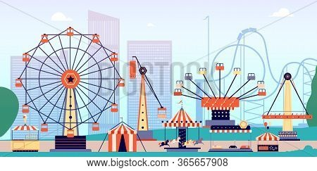 Amusement Park. Fun Fair, Circus Entertainment Or Carnival. Recreation With Roller Coaster And Ferri
